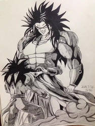Dragon Ball Z Goku vs Broly Super Saiyan 4 by Xeleratre