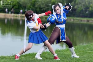 Chun Li vs Sakura by NyaWright