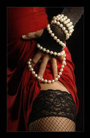 red and pearls by li-bra