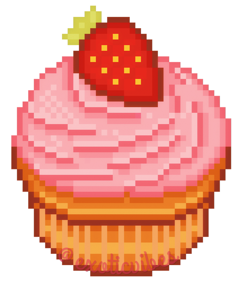 pixel art: strawberry cupcake by exoticvibes