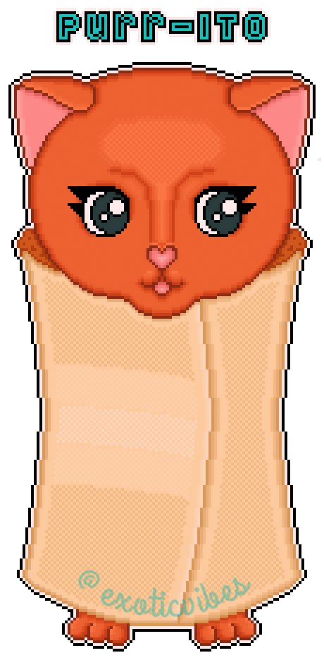 pixel art: purr-ito by exoticvibes