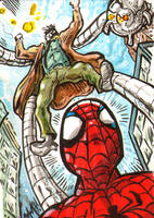Doc Ock and Spidey Sketch Card by ChrisMcJunkin