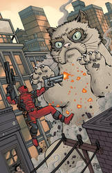 Deadpool VS 50 Foot Grumpy Cat by ChrisMcJunkin