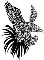 Hawk Wall Tribal vector by Mouagip