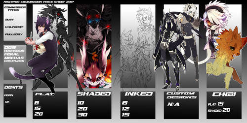 Commission Price sheet 2017 Closed by Nishipu