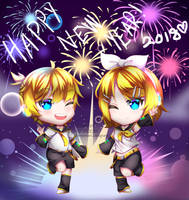 Rin and Len New Year by saemidesu