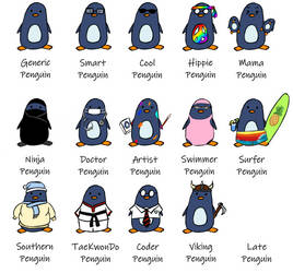 Types of Penguins! by selftaughtartist1