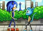 (Crossover) Blue meets Blue + Speedpaint by Darucha