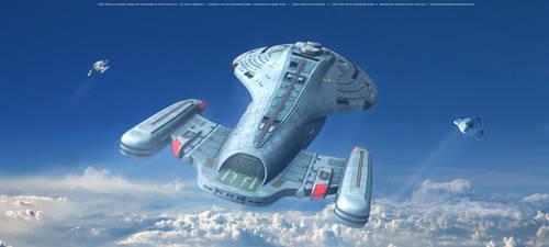 Star Trek Intrepid Class Starship  Above The Cloud by Zodi