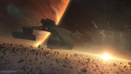 USS Enterprise A Escorting The Klingon Cruiser by Zodi