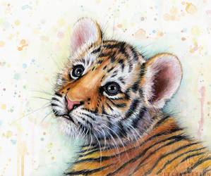 Tiger Cub Watercolor   Baby Animals by Olechka01