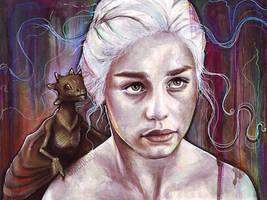 Daenerys Targaryen Dragon Painting Game of Thrones by Olechka01