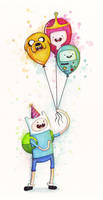 Adventure Time Finn with Birthday Balloons by Olechka01