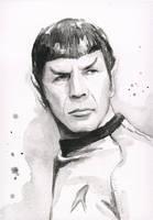 Spock Portrait Watercolor by Olechka01