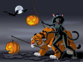 Jasmine and Rajah on Halloween by manony