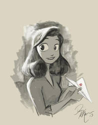 Paperman warm-up sketch by Dominic-Marco
