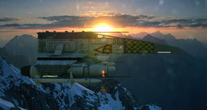 Master Raddekh's E-Wing over the Eocho Mountains. by ChrisNs