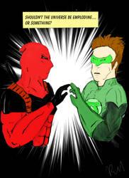 Dead Pool and Green Lantern by Mr-Bonejangles
