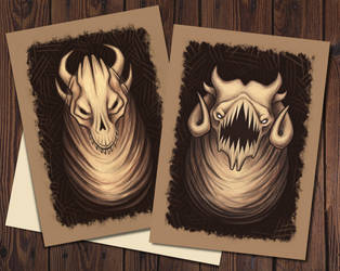 Creepy monsters, postcards by GreenWolfCraft