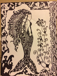 Zentangle Mermaid by Fallenangelassasin