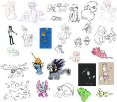 Teeny sketch dump by Featherkissed