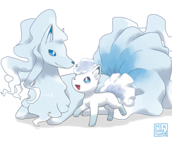 Alola Vulpix and Ninetales by miamitu