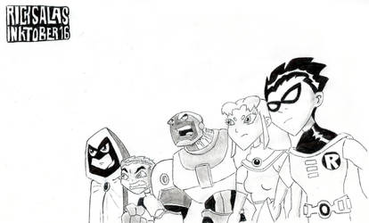 INKTOBER '16 #15 - Teen Titans, Go! (Comma, yes!) by Clockchat