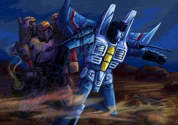 Megatron and Thundercracker IDW comission by Logna