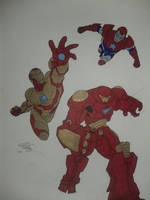 Iron Man, Iron Patriot and Hulkbuster by chaz1179