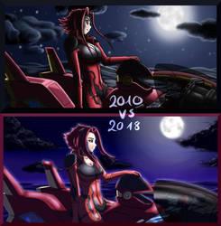 Aki on D-Wheel 2010 vs 2018 by LuckyLucario