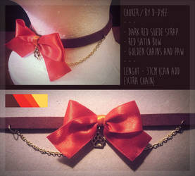 FOR SALE : Red Ribbon Paw Choker (closed) by D-Dyee