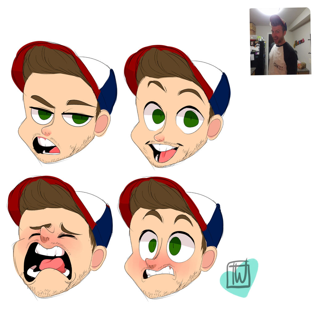 Zach4 Expressions chibi commission by temporaryWizard