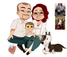 Laurenxwd family chibi plus doggo commission by temporaryWizard