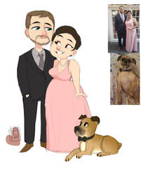 F0xy Chibi Couple And Dog commission by temporaryWizard