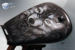 Wolf airbrush WIP by aladecuervo