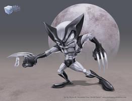 Wolverine toon on grays by aladecuervo