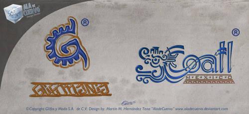 Glifos and Coatl logos by aladecuervo