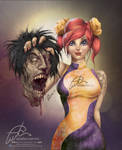 Beauty Zombie Hunter by aladecuervo