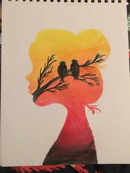 Watercolor Silhouette - Birds by silvermist999