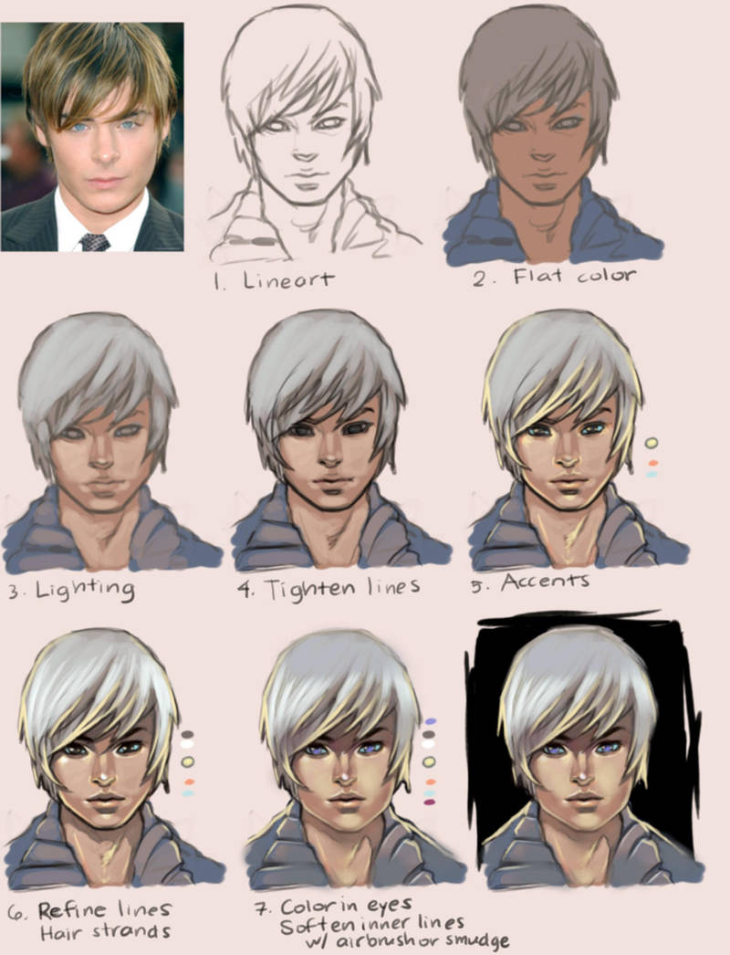 Anime Painting Tutorial: Boy by taho