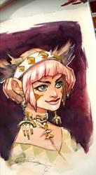 Tribal Girl Pink Hair by taho
