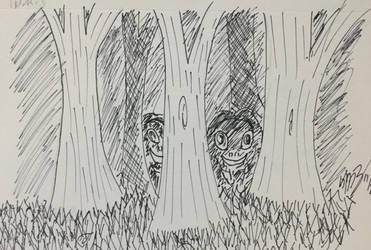 Inktober Day 11 - Lurking by Ortello