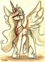 Princess Celestia Pencil Study by TheDracoJayProduct