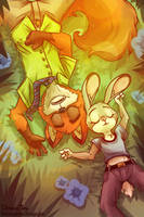 Nick Wilde and Judy Hopps by TheDracoJayProduct