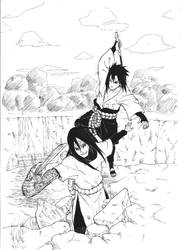 orochimaru and sasuke sparring by sharingandevil