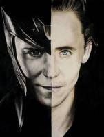 Loki Laufeyson and Tom Hiddleston (crayons) by Reyos-Cheney