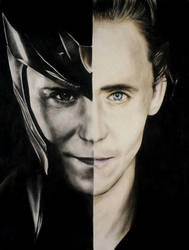 Loki Laufeyson and Tom Hiddleston (crayons) by Reyos-Cheney