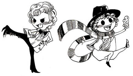 3rd and 4th Doctors' chibis by orookayasu