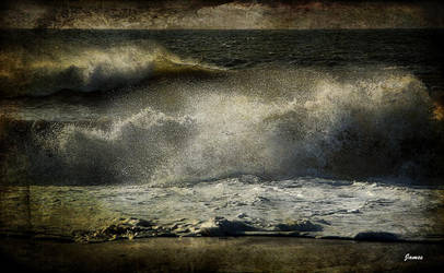 crashing on the shore by awjay