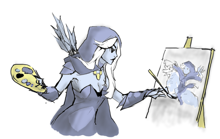 Drow Ranger drawing a Drow Ranger by Viperys